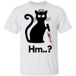 Black Cat Hold Blood Knife Hm T-Shirt Funny Halloween Ideas Shirt Creepy Gifts For Cat Lovers