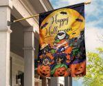 Wiener-Dogs With Pumpkins Halloween Moon Flag Happy Halloween Garden Flag Party Decorations