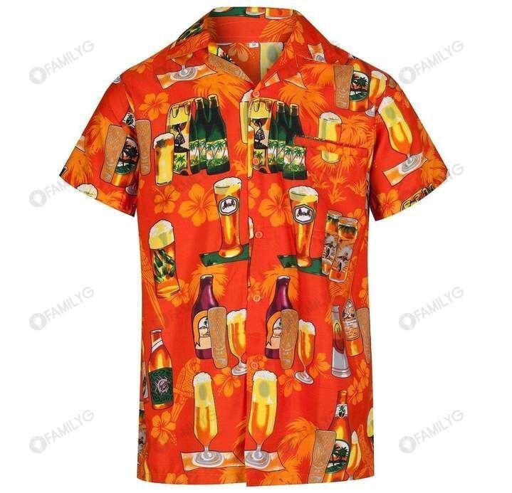 Beer Enjoy Drinking Beer Orange Hawaiian Shirt