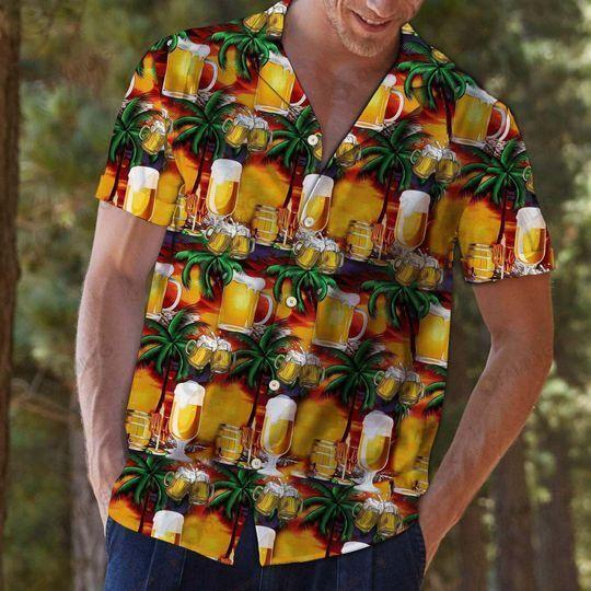 Beer Caft Palm Tree Hawaiian Shirt