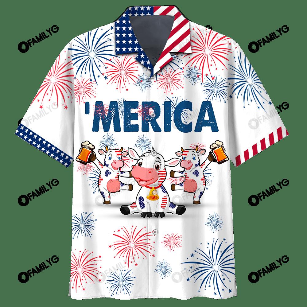 4Th Of July Cow Beer Hawaiian Shirt