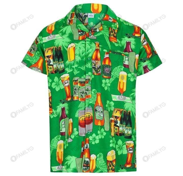 Beer Enjoy Drinking Beer Green Hawaiian Shirt