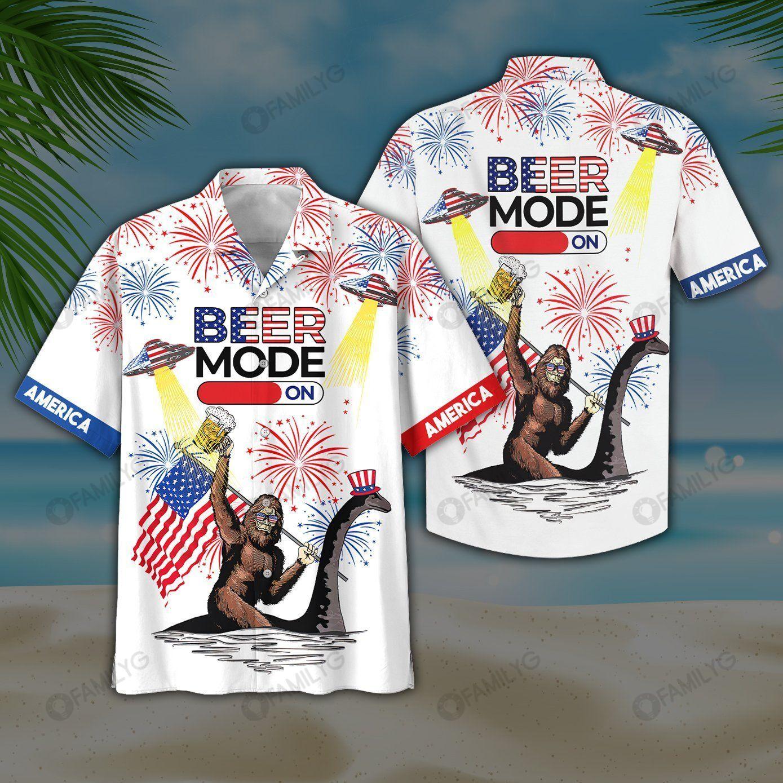 4Th Of July Beer Bigfoot Hawaiian Shirt
