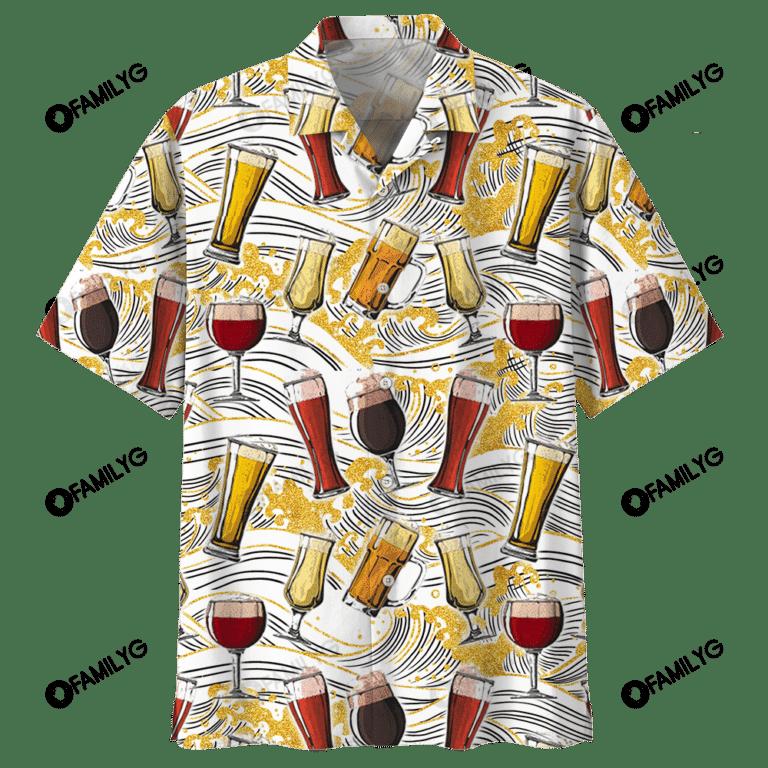 Beer And Wine Alcohol Drink Hawaiian Shirt