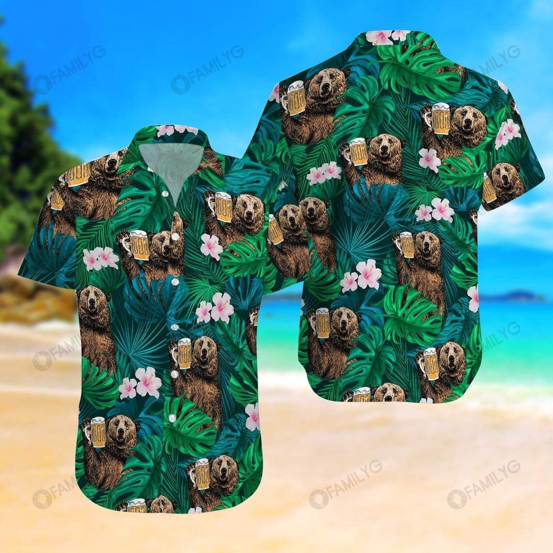 Bear Drinking Green Tropical Beer Hawaiian Shirt