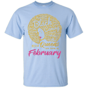 Black queens are born in february birthday t-shirt for women black car