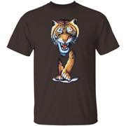 Tiger Printed Tshirt Medium Black Vintage 90's Wild Animals The Mountain Printed Animal Tigers shirt
