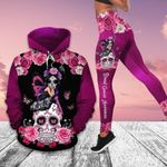Outfits20 Breast Cancer Girl With Skull Shirt And Leggings 3D All Over Printed Unisex Size