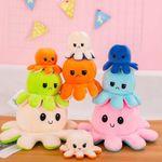 Big Reversible Mood Octopus Plush - Jumbo Octopus Emotion Flip Toy Plushie Stuffed Animal
