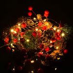 Red Berry Pine Cone Garland Lights