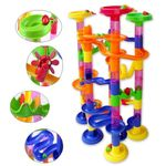 Marble Run Sets For Kids - 105 Pieces Marble Race Track Marble Maze Madness Game Stem Building Tower