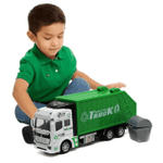 Garbage Truck Toy Friction-Powered Waste Management Recycling Truck Toy Set