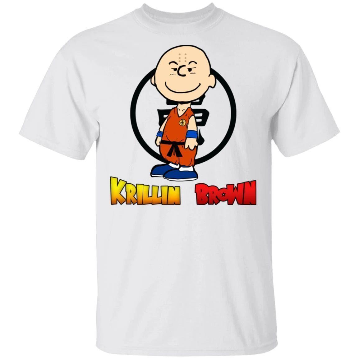 Krillin Brown Shirt Anime Parody Dragon Ball Tee