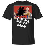 Saitama Hits Goku and Says Baka Shirt Mashup Dragon Ball and One Punch Man Tee