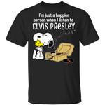 Snoopy Elvis Presley Tee Shirt Happier When Listen To Elvis Presley