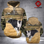 LKH Holstein cattle camo 3D printed hoodie