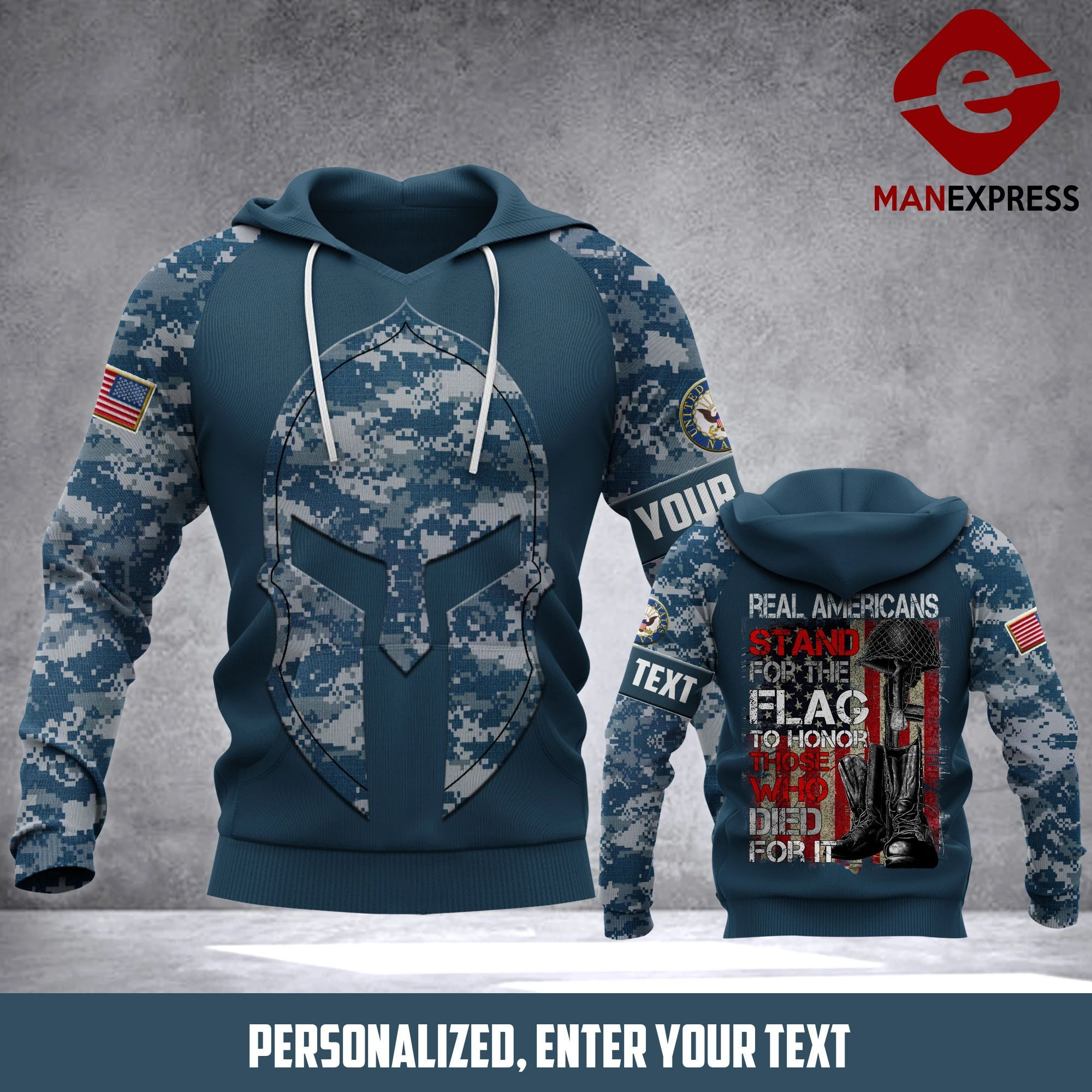 TT CUSTOMIZE US NAVY -Stand for the flag GREAT 3D HOODIE