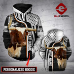 Personalized Texas Longhorn cattle 3D printed hoodie FLD