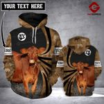 Personalized Red Angus cattle 3D printed hoodie PQK
