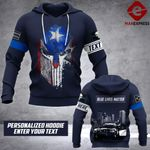 Soldier Puerto Rico-Blue lives matter personalized 3d Printed HOODIE TT