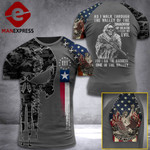 Texas 3% Patriot Walk Through The Valley v2 Tshirt 3d - All Over Print ART1308