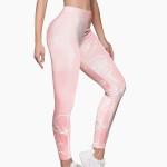Pink Gradient Flower Line Leggings