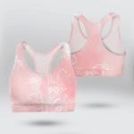 Pink Gradient Flower Line Sports Bra