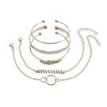 5Pcs/set Bohemian Gold color Moon Leaf Crystal Opal Open Bracelet Set for Women Punk Boho Beach Bangle Jewelry Gift