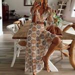 Long Women Dress Summer Print Beach Style Ankle-Length Women's Clothing Empire V-Neck A-Line Half Sleeve Soft Cozy Female Dress