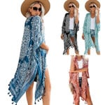 2021 spring and summer seaside vacation printed fringed blouse casual mid-length loose beach cardigan jacket women