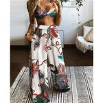 2021 New Women Two Piece Pants Sets Floral Butterfly Printed Cami Crop Tops and Loose Wide Leg Pants Casual Boho Sexy 2Pcs Sets