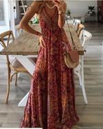 Women's Boho Vintage Maxi Dress Flora Print Deep V Neck Loose High Waist Dresses Spaghetti Strap Summer Retro Vestidos Clothes