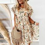 2021 new summer Floral Print Ruffle Mini Dress women Elegant O-Neck Short Sleeve dresses female Boho A-Line beach Party Dress