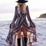 Boho Inspired beach dress Casual floral printed sexy Split long sleeve tunic wrap summer dresses hippie chic vestidos 2020