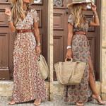 HOT SALE!! Boho Women V Neck Short Sleeve Paisley Print Belt Large Hem Beach Long Dress print dress summer beach dress with belt