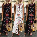 Women Dress Boho Floral Print Sleeveless Summer Party Long Maxi Elegant Lady Holdiay Beach Sundress Split Female Clothing
