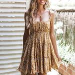 2021 Summer Women Ruffle Dresses Ladies Boho Floral Sleeveless Slim Caims Mini Dress Female Clothes ???????? ??????? ??????