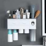 Magnetic adsorption inverted toothbrush holder bathroom accessories set
