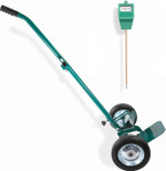 Potted Plant Mover Dolly with 2 Flat-Free Wheels - Heavy Duty Herb Pot Caddy with Foldable Handle - Complete with Soil Moisture Meter -Transport Garden Pots, Plants & Heavy Planting Materials