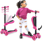 3 Wheeled Scooter for Kids - Stand & Cruise Child/Toddlers Toy Folding Kick Scooters w/Adjustable Height, Anti-Slip Deck, Flashing Wheel Lights, for Boys/Girls 2-12 Year Old