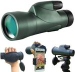 12x55 High Definition Monocular Telescope and Quick Phone Holder-2021 Waterproof Monocular -BAK4 Prism for Wildlife Bird Watching Hunting Camping Travel Secenery
