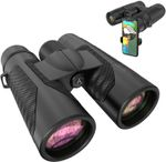 12x42 HD Binoculars for Adults with Universal Phone Adapter - High Power Binoculars with Super Bright and Large View- Lightweight Waterproof Binoculars for Bird Watching Hunting Outdoor Sports Travel