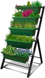 Raised Garden Bed, 4Ft Vertical Garden Freestanding Elevated Planters With 5 Tier Planter Boxes, Indoor Or Outdoor Garden Bed For Vegetables, Flowers, Fruits And Herbs