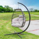 Outdoor Hanging Egg Chair Swing Lounge Chair Soft Deep Cushion Backyard Relax, Beige