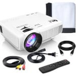 """Professional 7500Lumens Mini Projector with 100Inch Projector Screen, Full HD 1080P 170"""" Display Supported, PS4,TV Stick, Smartphone, USB, SD Card Supported, Great for Home Theater Movies"""