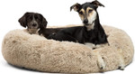"""Calming Donut Cat and Dog Bed in Shag or Lux Fur, Machine Washable, High Bolster47.24"""""""