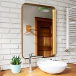 Medium Bathroom Mirrors for Wall - Modern Rectangular Mirror with Seamless Metal Mirror Frame - Easy to Install, Mounting Hardware Included