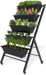 """Vertical Raised Garden Bed, Tiered (29"""" Long x 26"""" Wide x 51"""" Tall) - Locking Wheels for Easy Planter Mobility - 5 Food Safe Flower Boxes - Cascading Water Drainage - Freestanding Indoor/Outdoor Kit"""