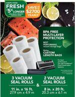 "8"" and 11"" Seal Rolls Multipack, Make Custom-Sized BPA-Free Vacuum Sealer Bags, Multi-Pack, Clear"