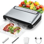 Vacuum Sealer, Built-in Bag Storage and Cutter, 85 KPA Powerful Suction Food Saver Machine, Dry and Moist Food Preservation with Bags and Rolls Starter Kit
